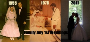 My grandparents, Trellis Zittrouer and Edward Phillips got married on July 1st 1955. Today would've been their 60th wedding anniversary if Grandaddy had lived to see it. My Parents, Deborah Phillips and Everett Coates got married July 1st 1978. Today is 37 years for them. I loved growing up watching them call each other and wish them happy anniversary, to share that joy with each other, so David and I chose to get married on July 1st, 2011. Keeping up the tradition. 4 years and counting. #GoTeamGeiger #PraiseTheLord
