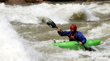 Paddling the Grand Canyon's Hermit Rapid during a reonnaissance trip last spring.